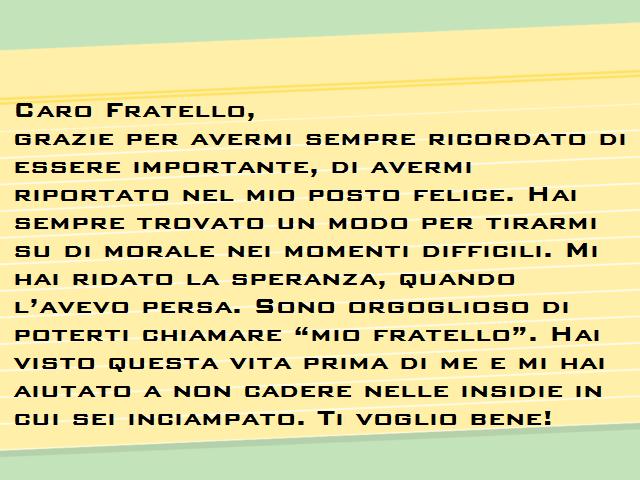 lettera 18 anni fratello